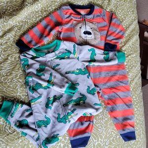 3/$10 2-Pack Carter's Fleece Footless Pajamas EUC